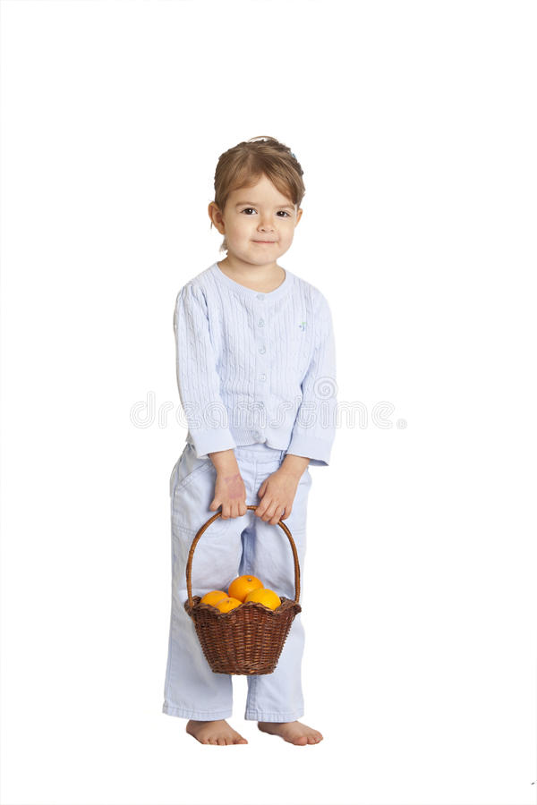 Download Toddler Holding Basket Of Oranges, Clipping Path Stock Image - Image: 28270565