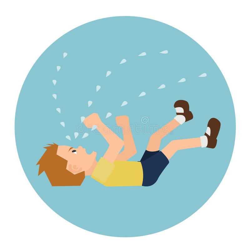 Toddler in hysterics on the floor vector cartoon. Toddler crying histrically on the floor - funny vector cartoon illustrationr vector illustration