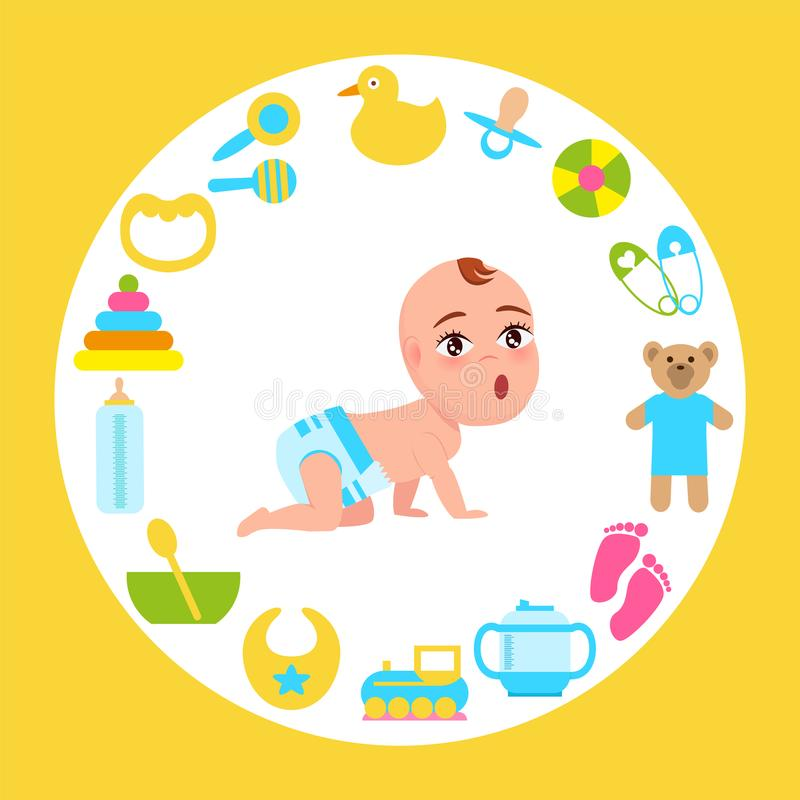 Toddler Infant in Diaper Crawl on All Fours Vector. Toddler infant in diaper crawls on all fours with wide open mouth frame made of accessories for kids fun and royalty free illustration