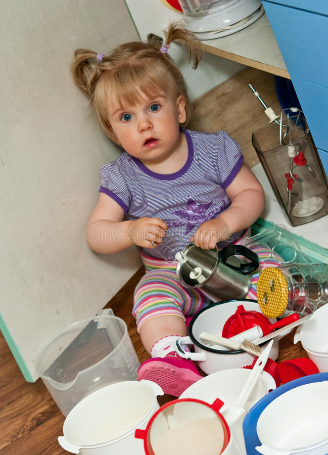 Download Toddler in the Kitchen stock image. Image of messy, pigtails - 20514895