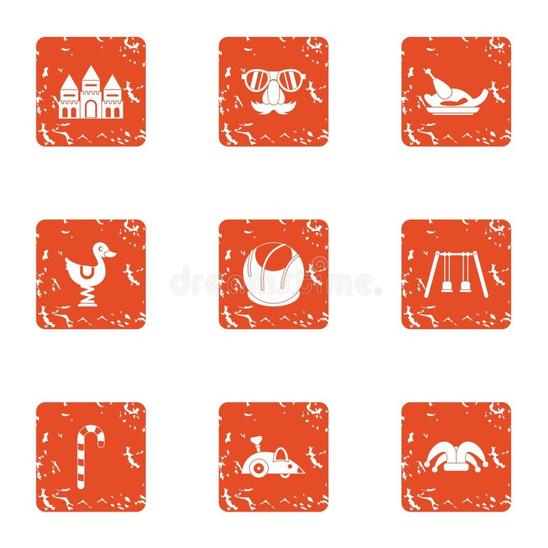 Toddler match icons set, grunge style. Toddler match icons set. Grunge set of 9 toddler match vector icons for web isolated on white background royalty free illustration