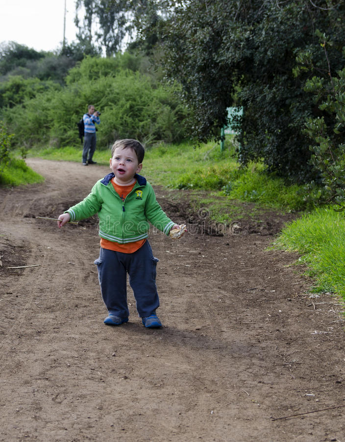Toddler at nature reserve stock photos