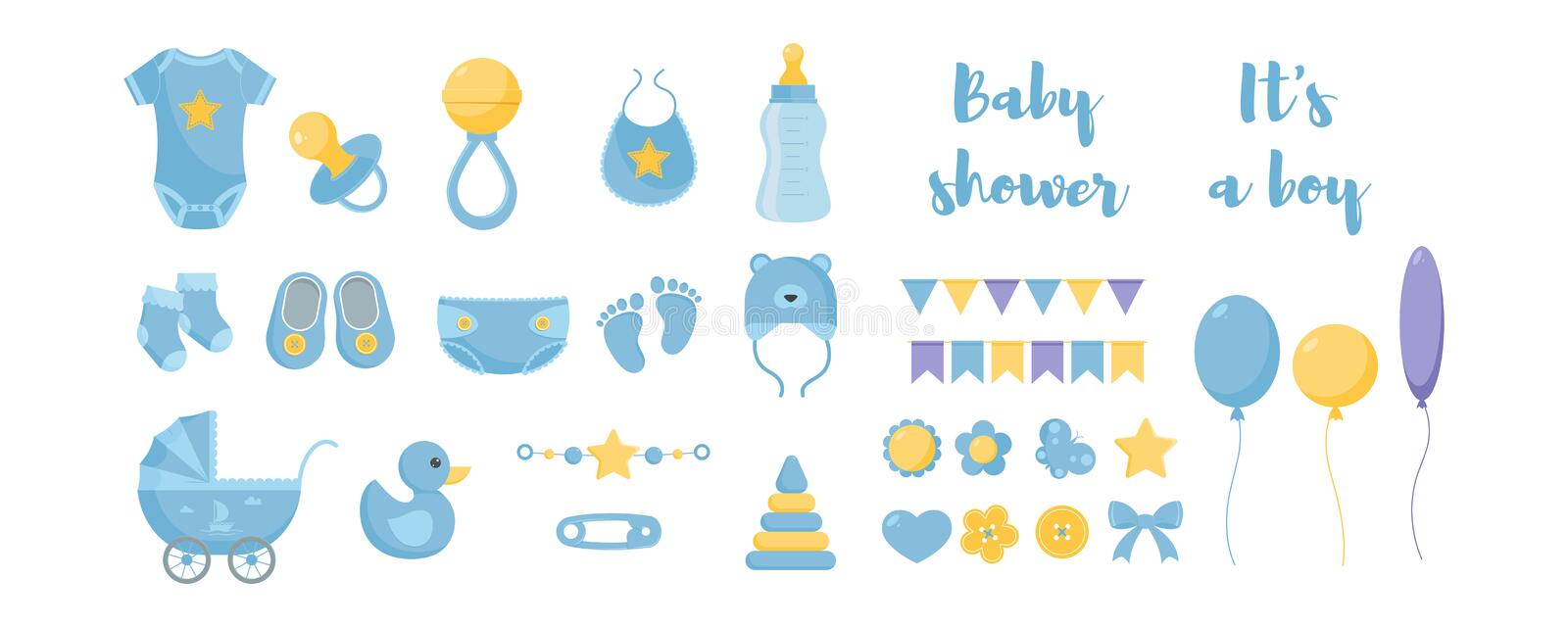 Toddler nursing and health care and hygiene products with decorative elements for baby shower design. stock illustration