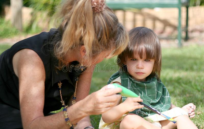 Toddler Painting stock images