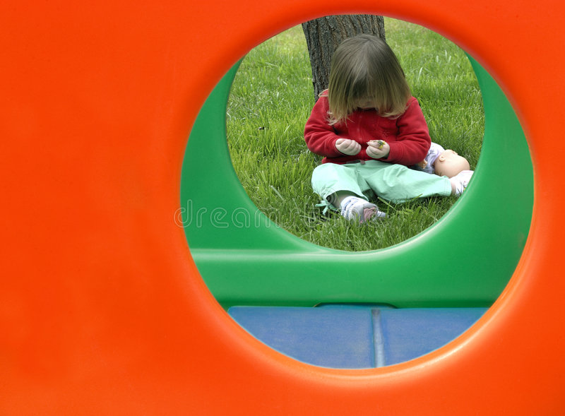 Toddler with Play Structure stock image