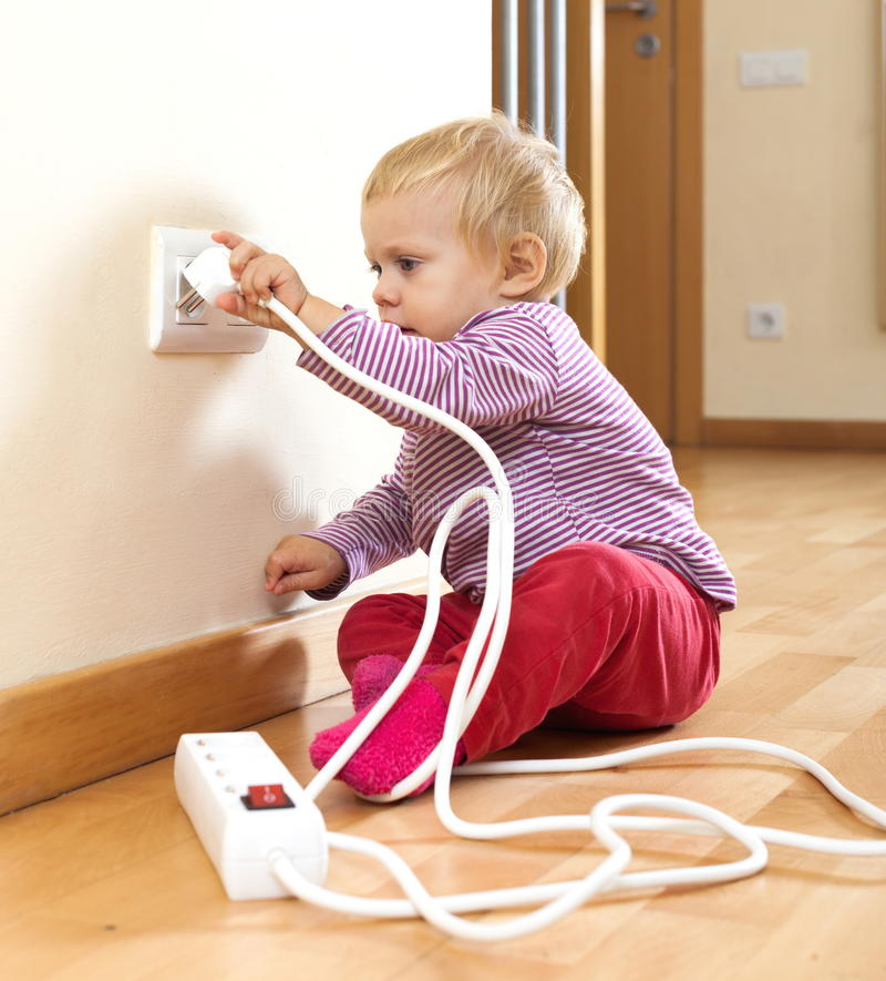 Free Toddler Playing With Electricity At Home Stock Images - 35985404