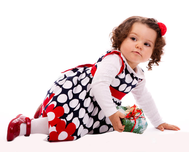 Toddler  With Present Box Stock Image