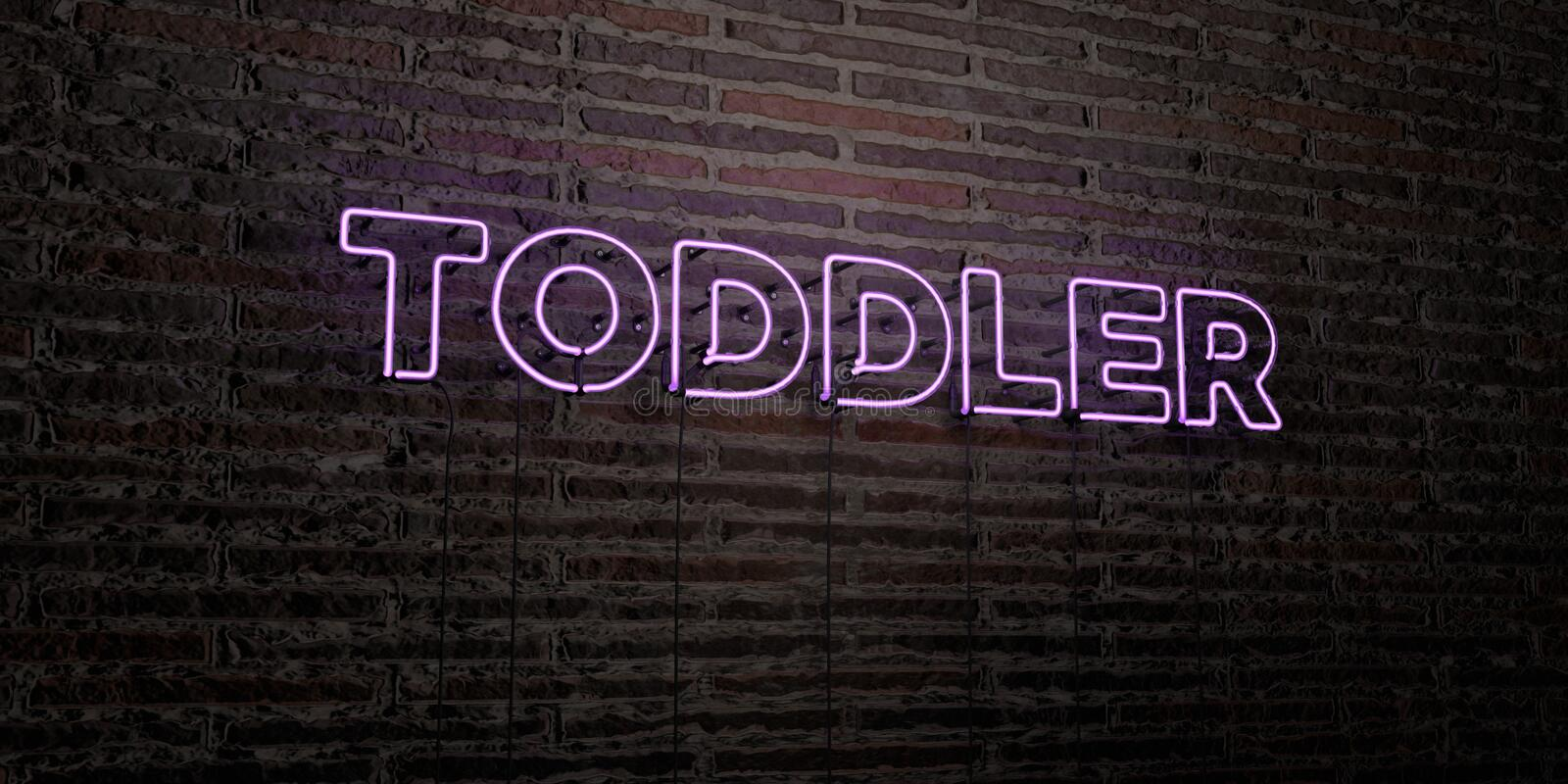 TODDLER -Realistic Neon Sign on Brick Wall background - 3D rendered royalty free stock image. Can be used for online banner ads and direct mailers royalty free illustration