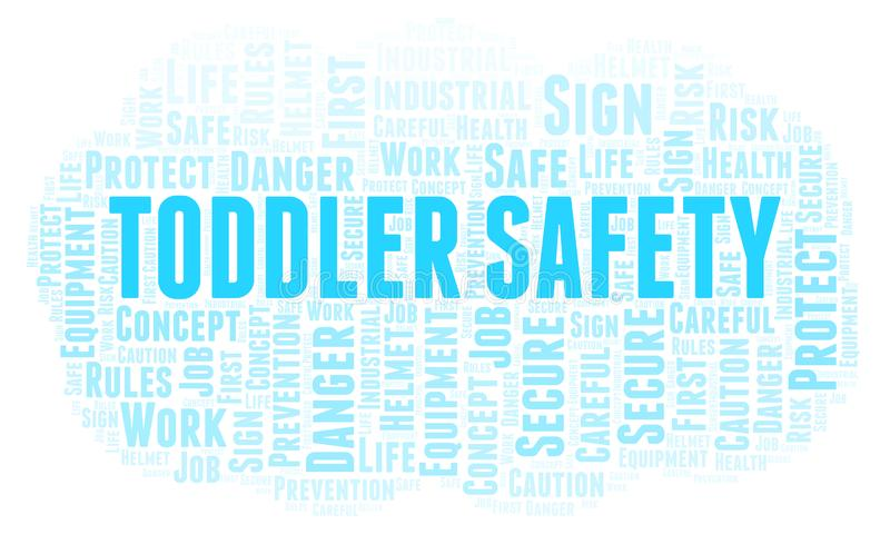 Toddler Safety word cloud. Word cloud made with text only royalty free illustration