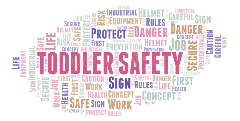 Toddler Safety word cloud. Word cloud made with text only vector illustration