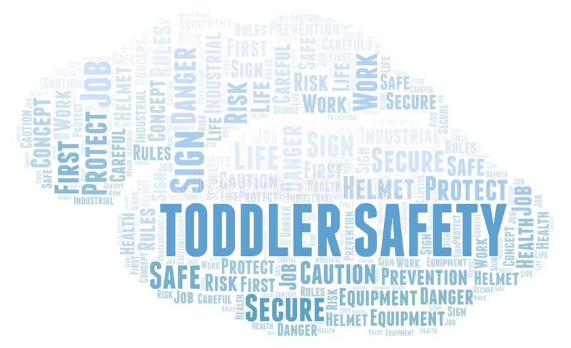 Toddler Safety word cloud. Word cloud made with text only stock illustration