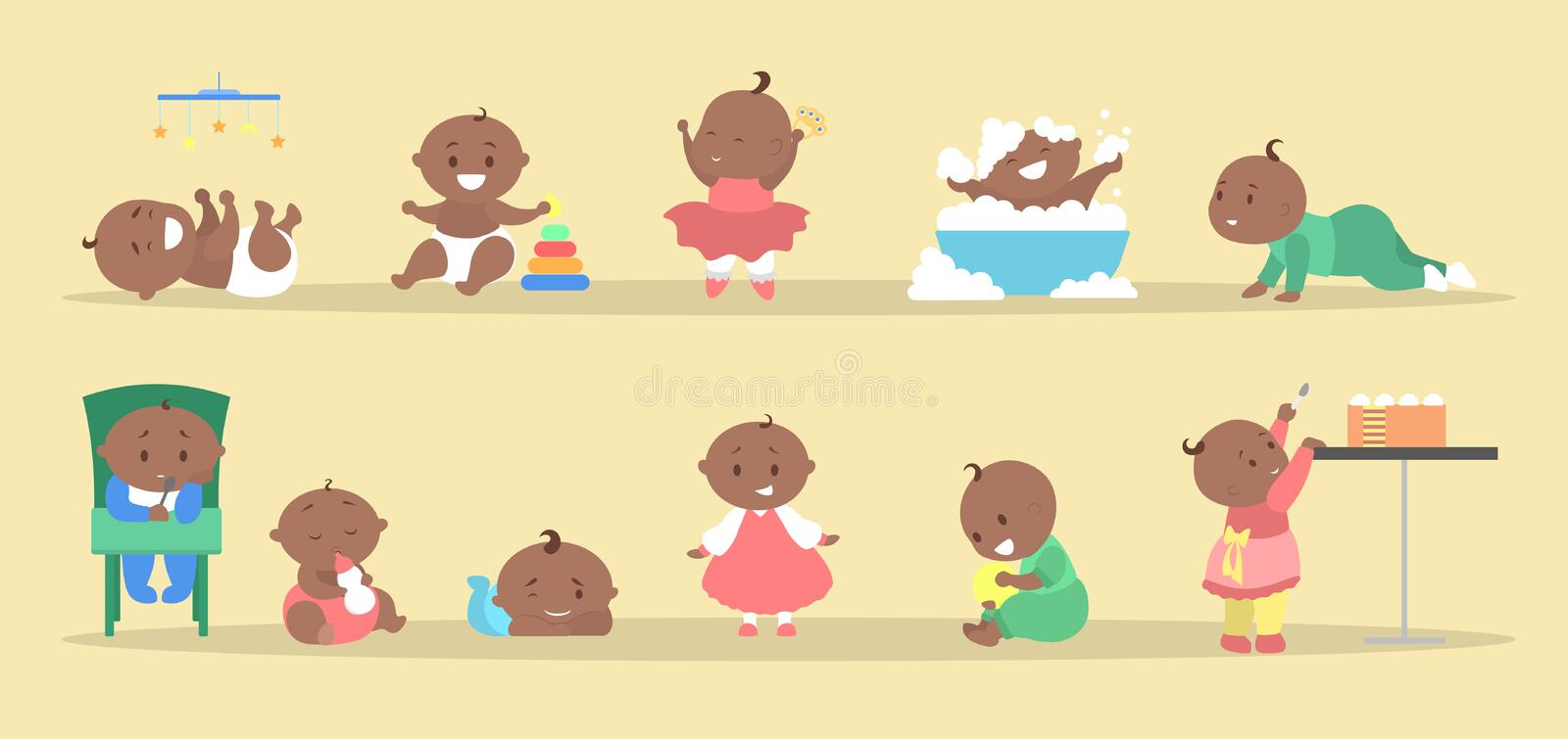 Toddler set. Collection of baby boy and girl. Doing different activity. Cute kid play with toy, eat sweet cake and having bath. Happy toddler. Flat vector royalty free illustration