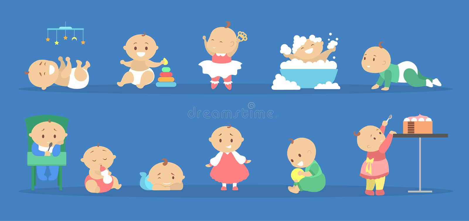 Toddler set. Collection of baby boy and girl. Doing different activity. Cute kid play with toy, eat sweet cake and having bath. Happy toddler. Flat vector stock illustration