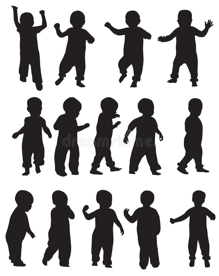 Download Toddler silhouettes stock vector. Image of toddler, show - 8105794