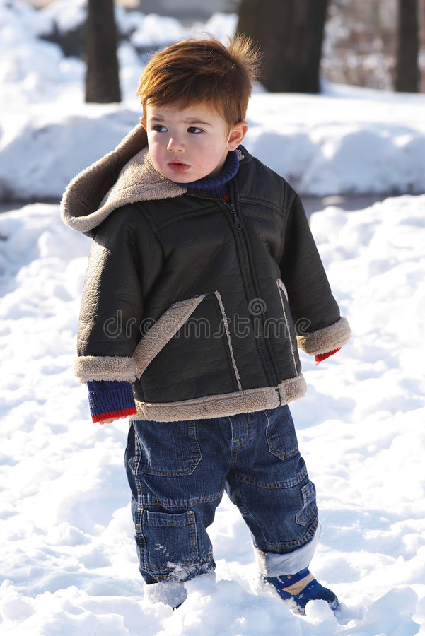 Download Toddler In Snow Royalty Free Stock Image - Image: 3951066