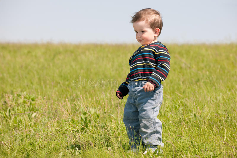 Toddler in the spring meadow royalty free stock photos