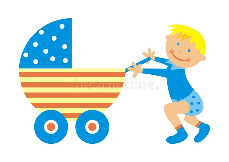 Toddler and stroller. Toddler's first steps. Boy are pushing a stroller. Vector illustration stock illustration
