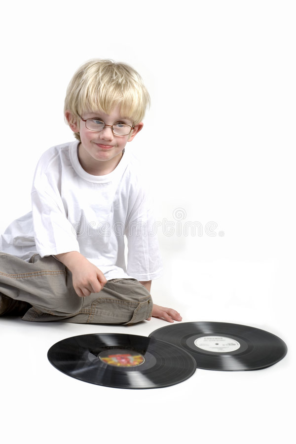 Toddler surprised by vinyl stock photos