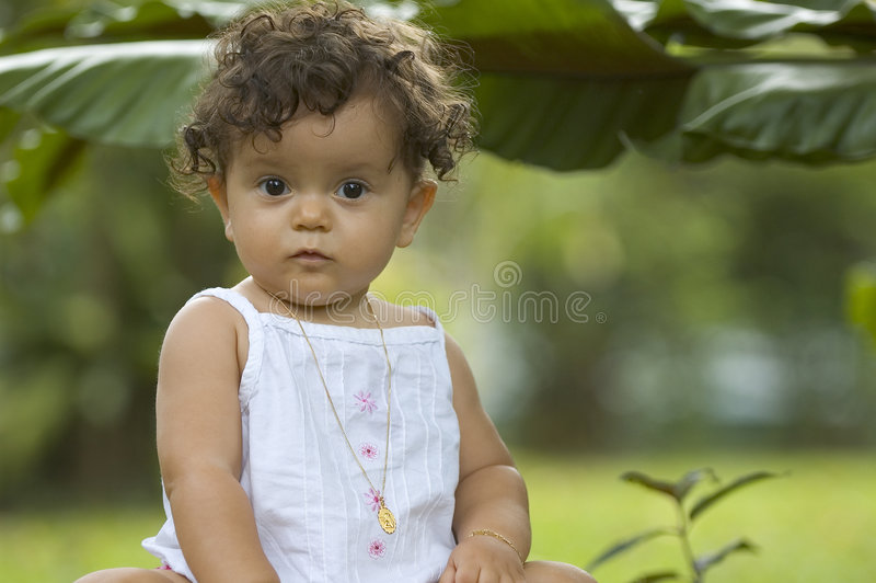 Toddler in tropics royalty free stock image