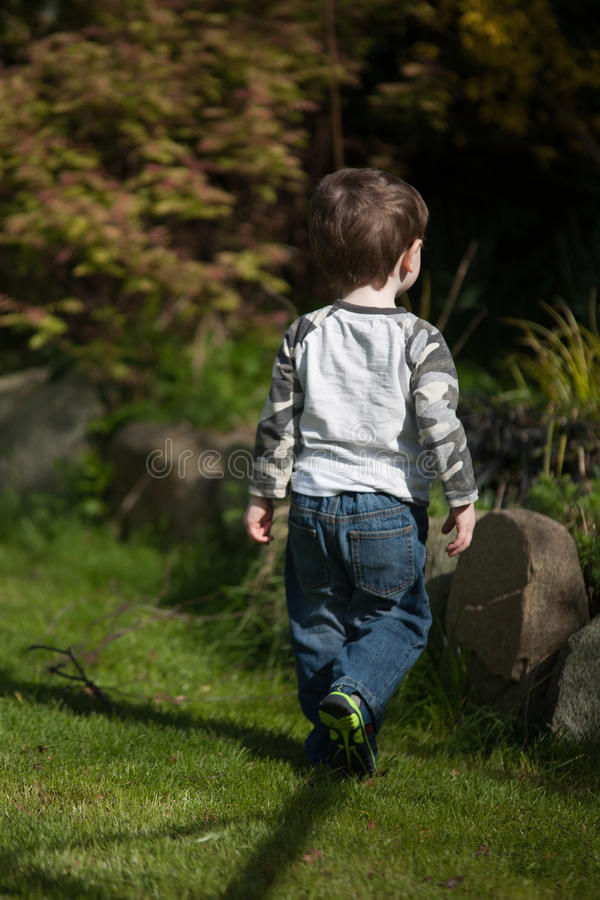 Toddler walking in garden. Rear view of toddler walking in garden royalty free stock photos