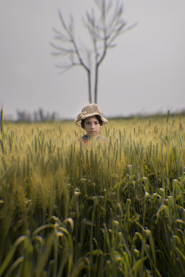 Toddler Wearing Brown Hat in the Middle of Green Field royalty free stock image