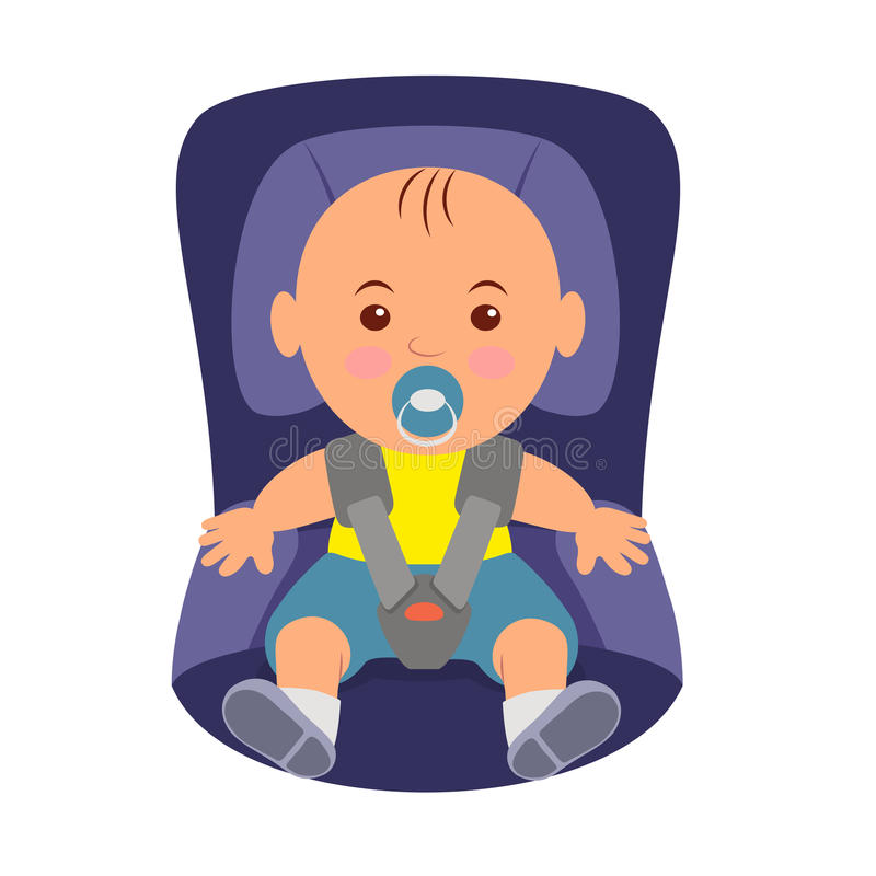 Toddler wearing a seatbelt in the car seat. Illustration of road safety in child car seat.  vector illustration