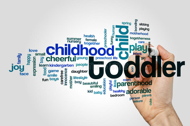 Toddler word cloud. Concept on grey background royalty free stock image