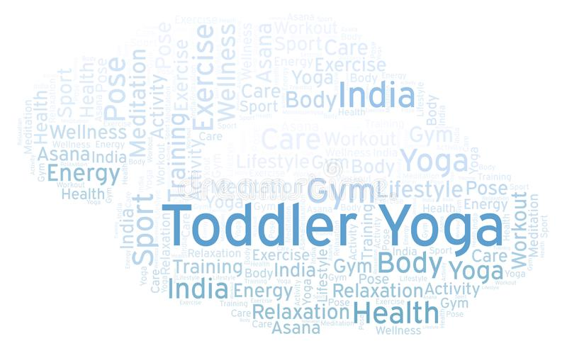 Toddler Yoga word cloud. Wordcloud made with text only vector illustration