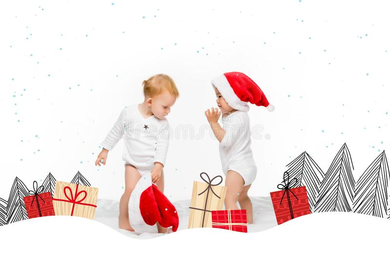 Toddlers with santa hats. Toddler asian boy and caucasian girl with santa hats isolated on white vector illustration