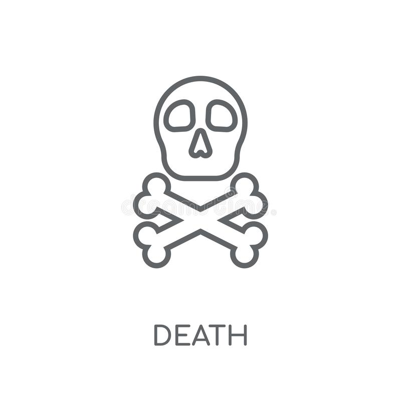 Todeslineare Ikone Modernes Entwurf Todeslogokonzept auf weißem Ba vektor abbildung