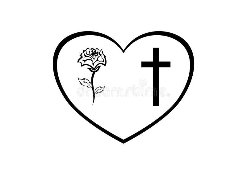 Todesmitteilung - Herzrahmen mit Kreuz und stieg vektor abbildung