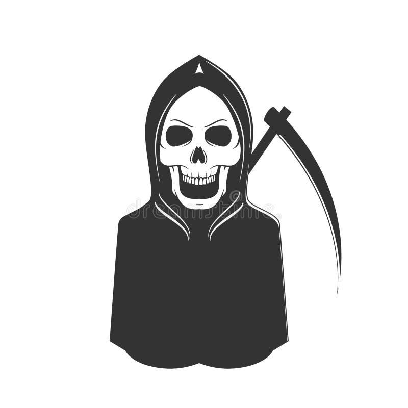 Todeszeichen Übel, Horror mit dem Geistskelett, Sense stock abbildung