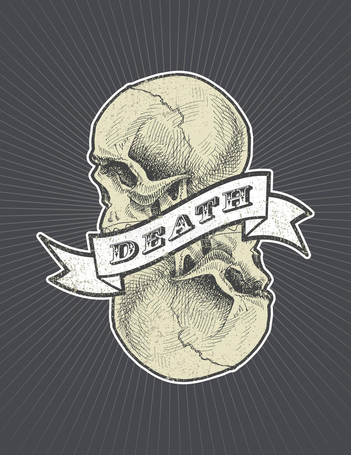 Todeszeichen mit Band und Schädel vector eps8 lizenzfreie abbildung