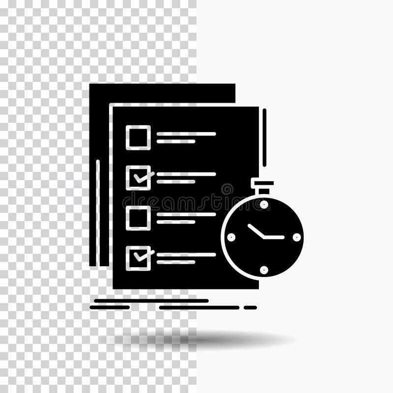 todo, στόχος, κατάλογος, έλεγχος, εικονίδιο χρονικού Glyph στο διαφανές υπόβαθρο r διανυσματική απεικόνιση