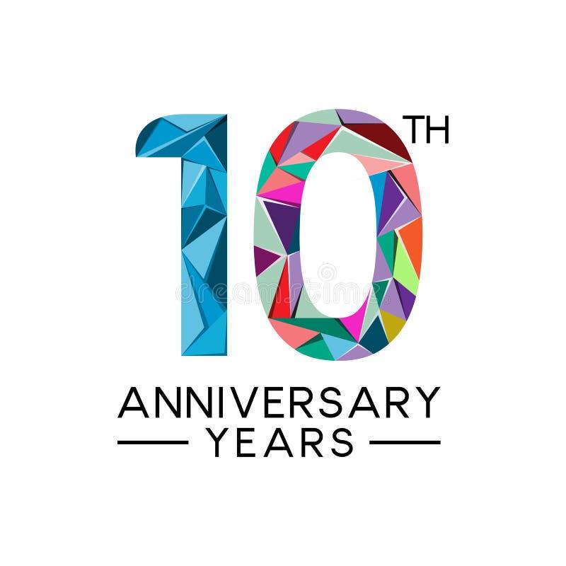 a todo color moderno del 10mo del aniversario triángulo abstracto de los años stock de ilustración