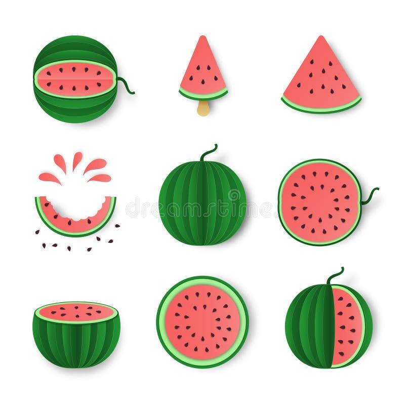 Todo da melancia, metade e grupo do corte isolado no fundo branco Projeto na moda do alimento saudável Ilustração do fruto para ilustração do vetor