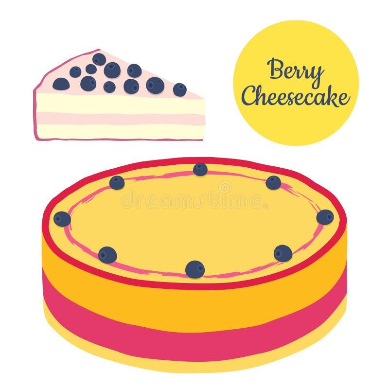 Todo e fatia de ilustração do bolo de queijo da baga no estilo liso ilustração do vetor