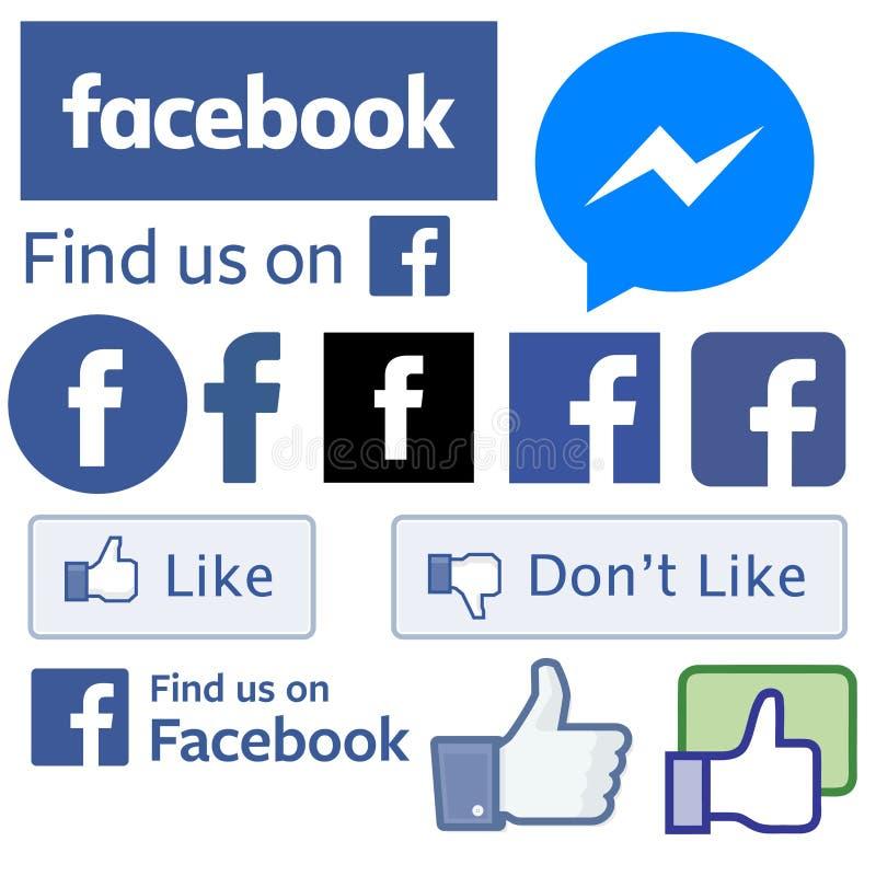 Todo el Facebook firma logotipos stock de ilustración