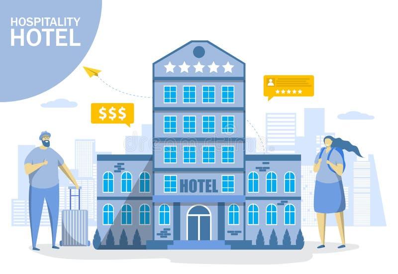 Todo el hotel inclusivo, ejemplo plano del diseño del estilo del vector libre illustration