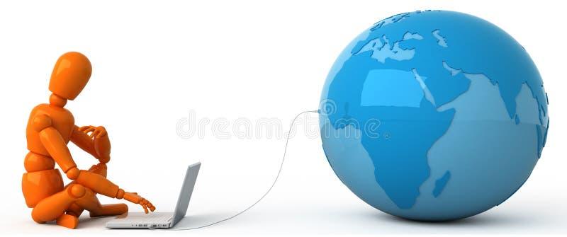 Todo el mundo en su computadora portátil ilustración del vector
