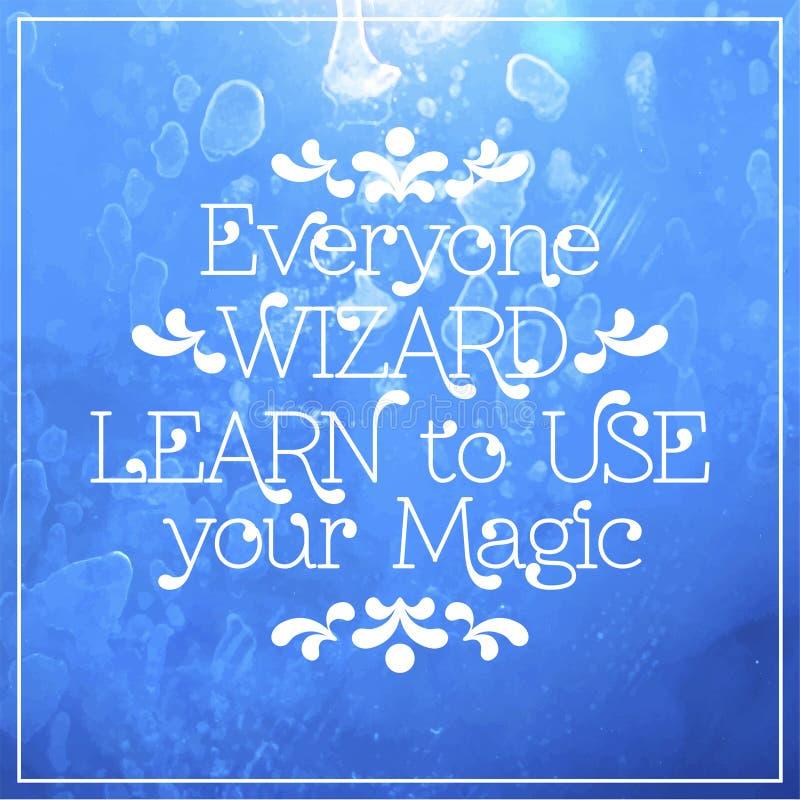 Todo el mundo mago Aprenda utilizar su magia stock de ilustración
