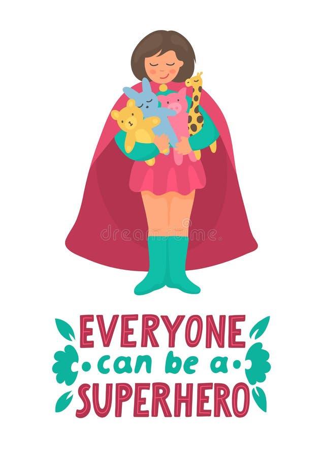 Todo el mundo puede ser un super héroe Juegos de la muchacha con los juguetes en traje del super héroe ilustración del vector