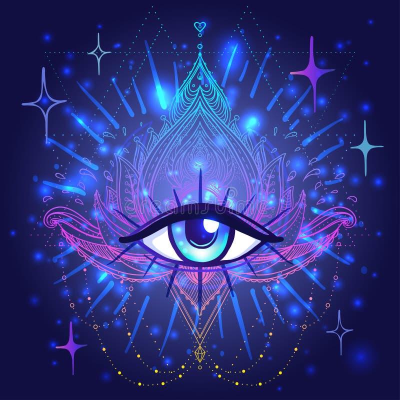 Todo el ojo que ve en la flor de Lotus ornamental del vector del loto, a étnica stock de ilustración