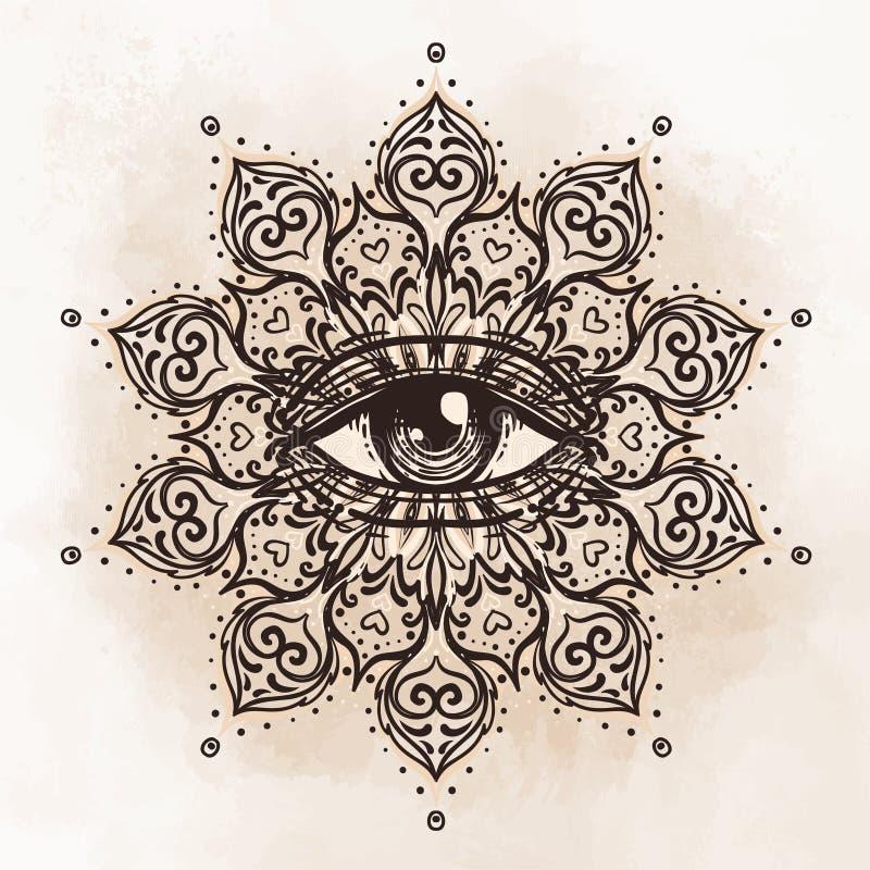 Todo el ojo que ve en modelo redondo adornado de la mandala Místico, alquimia, ilustración del vector