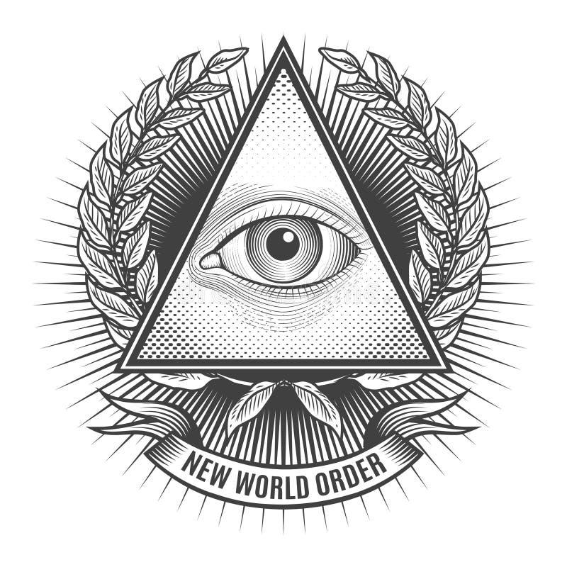 Todo el ojo que ve en triángulo del delta ilustración del vector