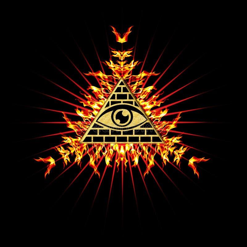 Todo el ojo que ve - ojo del providence ilustración del vector