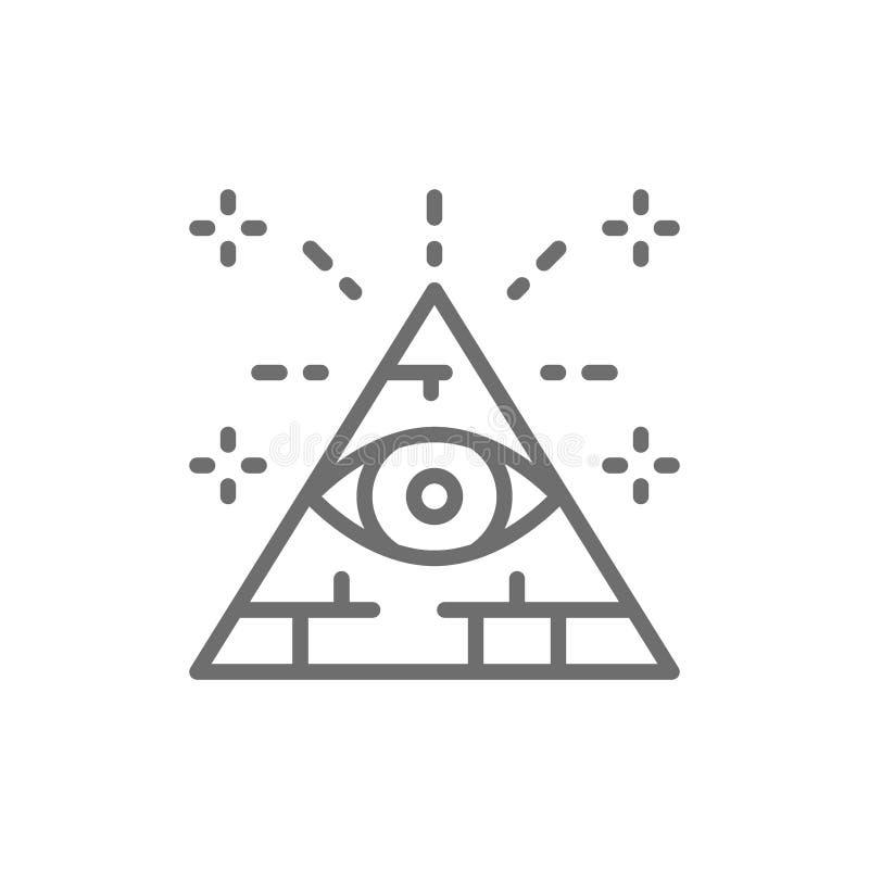 Todo el ojo que ve, triángulo, línea icono de la pirámide stock de ilustración