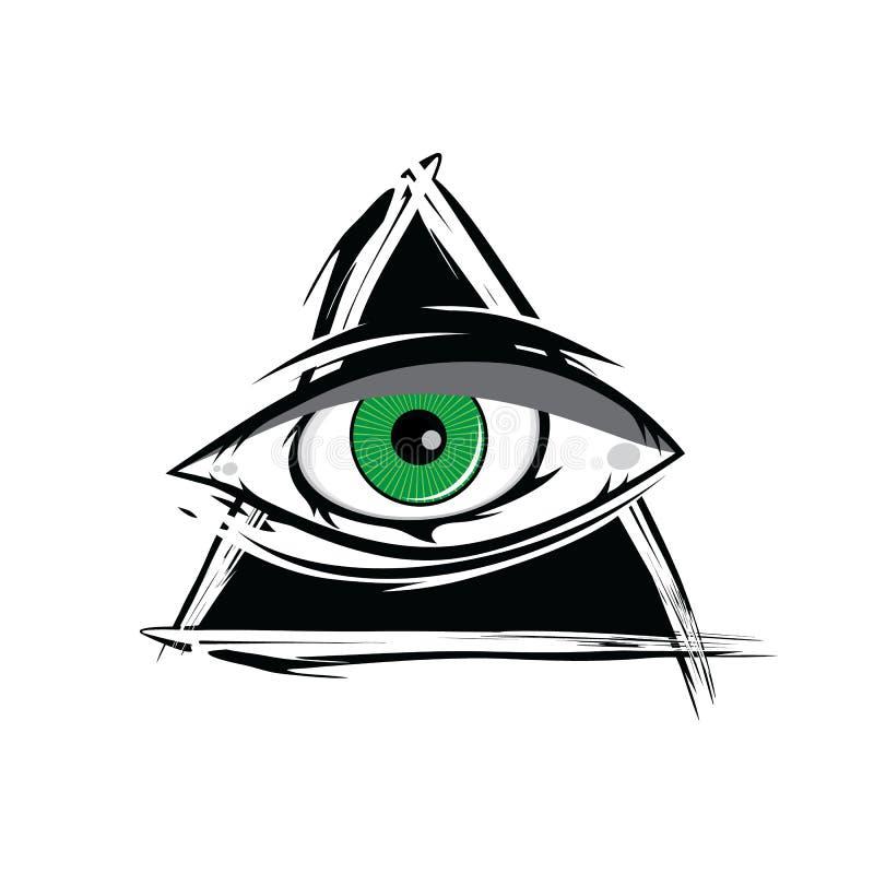 Todo el ojo que ve - vector verde de la francmasonería de Illuminati de la llama de Firey libre illustration