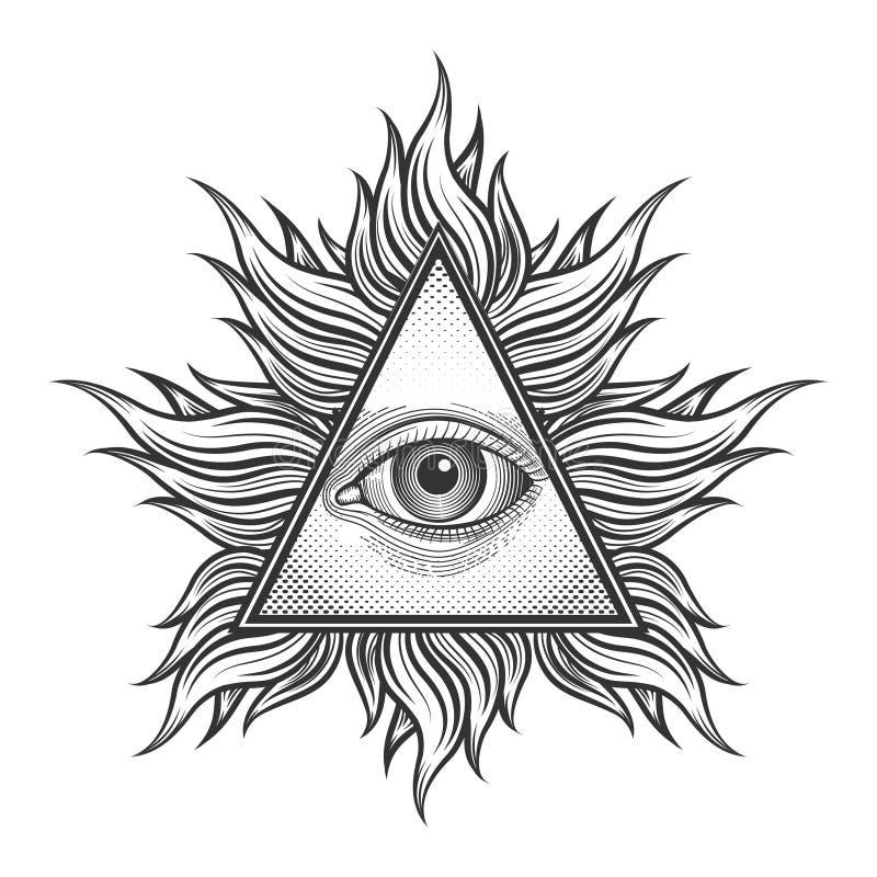 Todo el símbolo de la pirámide del ojo que ve en el grabado stock de ilustración