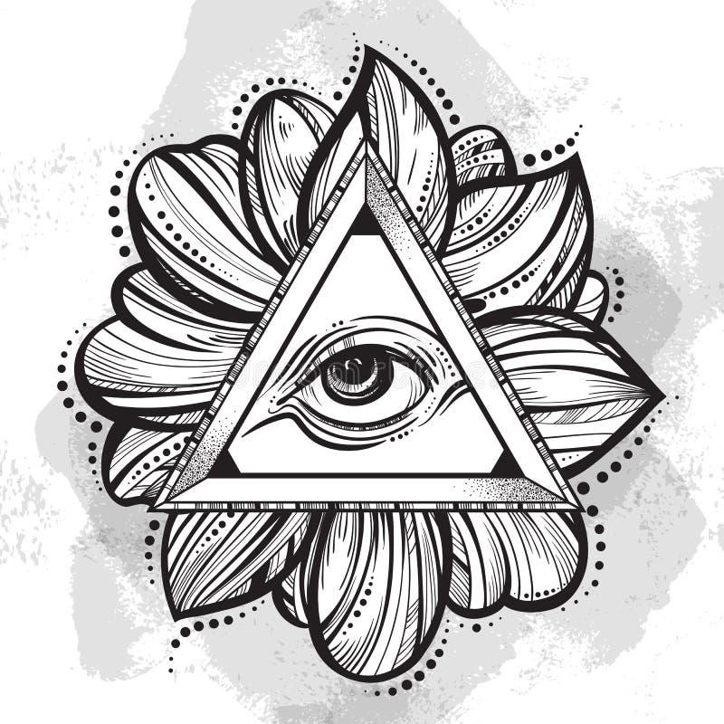 Todo el símbolo de la pirámide del ojo que ve Ojo a mano de la providencia Alquimia, religión, espiritualidad, arte del tatuaje ilustración del vector